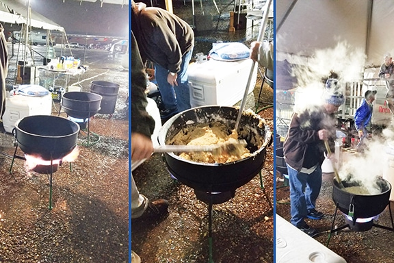 Making the Roux for the World's Largest Pot of Gumbo 2018