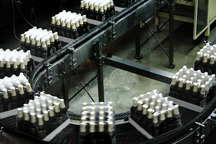 Packings of beer on a tape of the conveyor to undergo quality control check