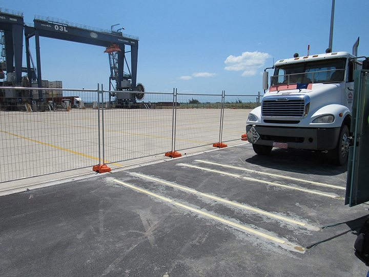 Truck drives across Intercomp Strip Sensors used in weigh-in-motion applications