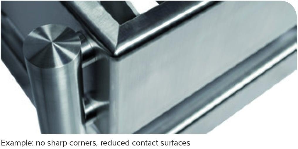 Stainless steel round corners