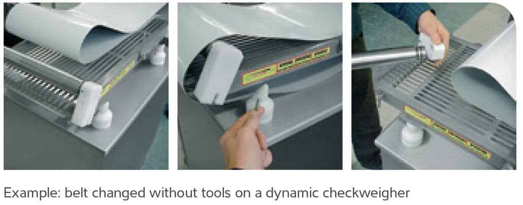 illustration showing a belt changed without tools on a dynamic checkweigher as part of hygienic scale design