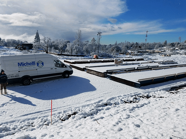 Truck scales covered in snow in Paradise, California