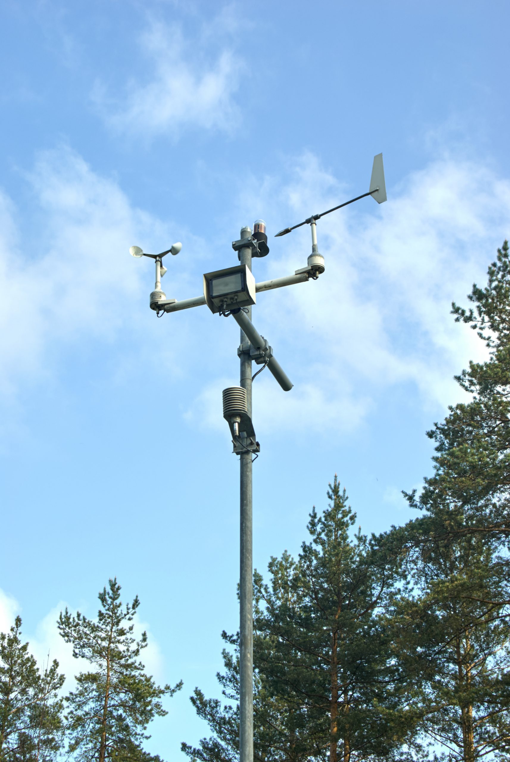 Meteorological station measuring temperature and wind speed