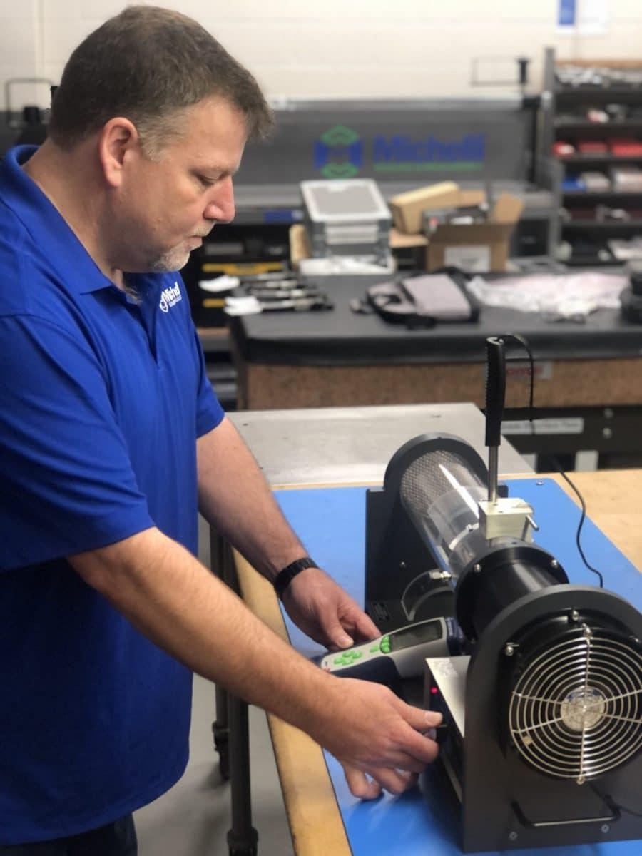 Michelli technician calibrating an anemometer
