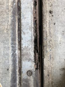 Rusted steel covers of truck scale