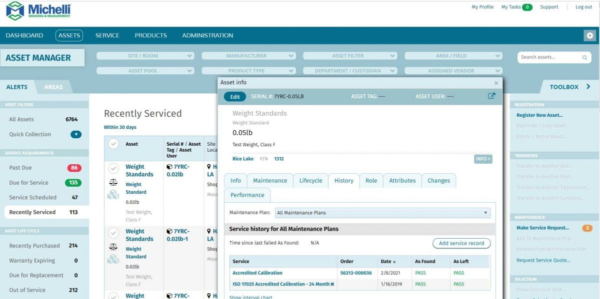 Screenshot from TRAC Asset Management system of an asset's calibration history