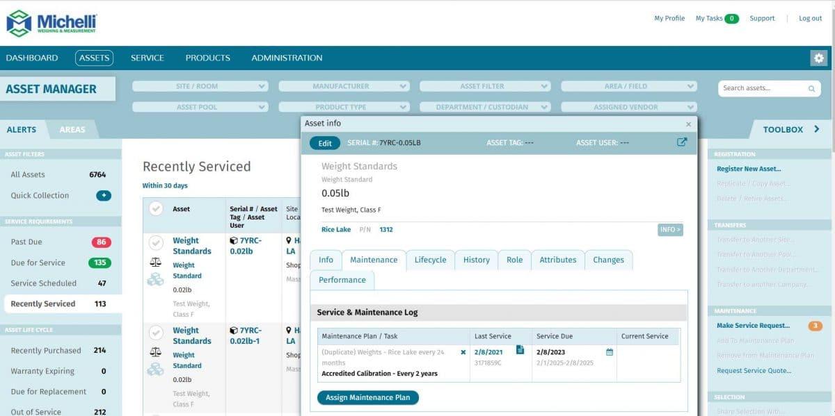 Screenshot of Maintenance Plan info in TRAC Asset Management system
