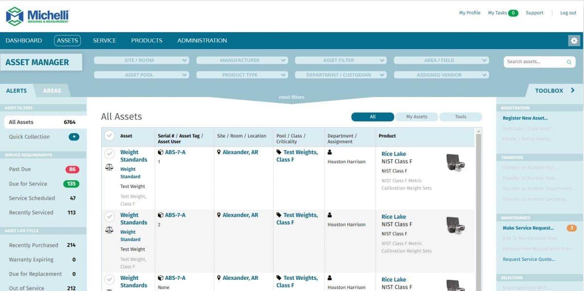 TRAC Asset Management System - Screenshot of Asset List Screen