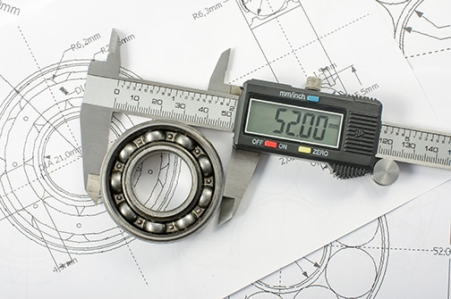 Micrometer measuring ball bearing