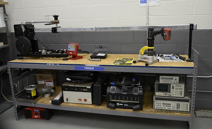 Torque Wrench Calibration Bench in Michelli Calibration Lab