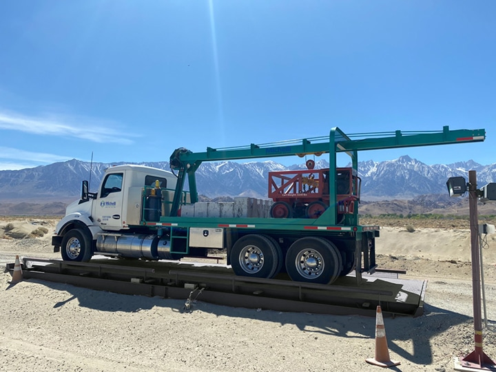 Michelli Weighing & Measurement heavy duty truck scale performs scale inspection in California