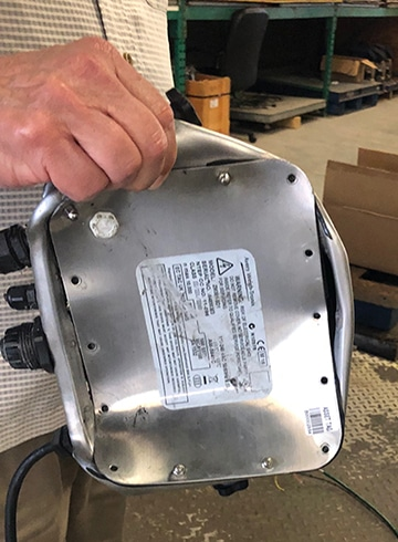 Scale indicator that was run over - back view