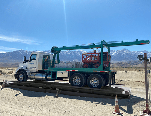 Michelli Weighing & Measurement heavy duty test truck performs truck scale calibration