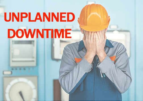 Worker in orange hat stressed because of unplanned downtime